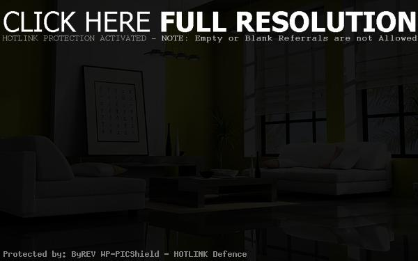 Luxury living room feng shui idea of black polished floor pictures